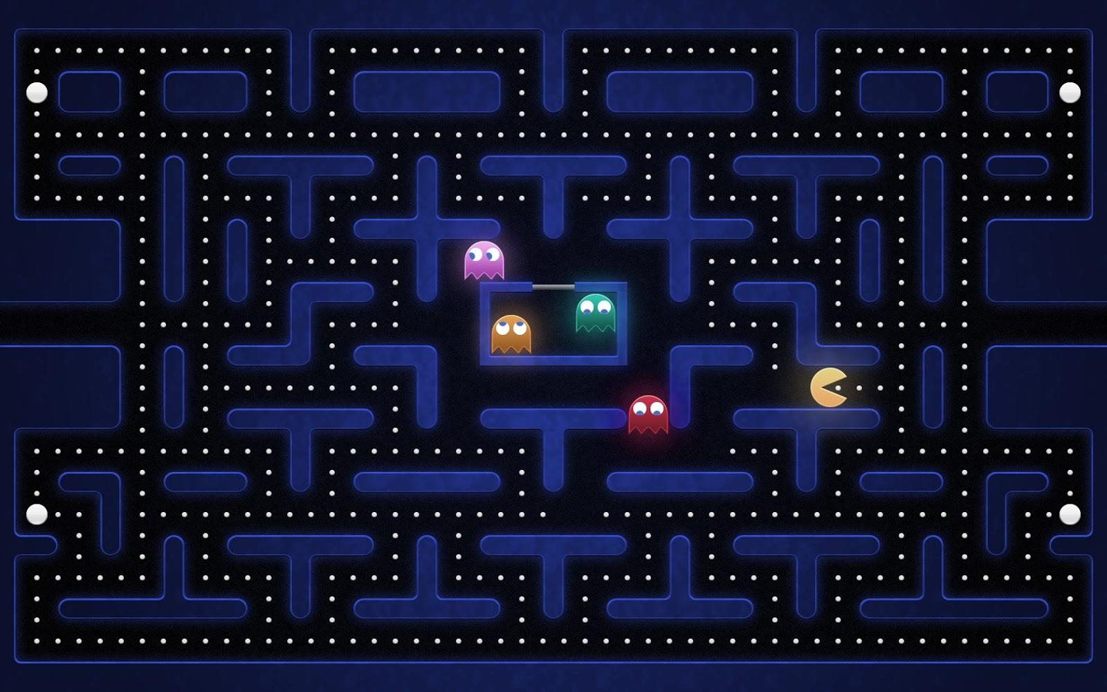Retro Pacman Video Game Desktop Wallpaper