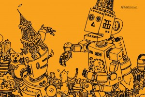Download Retro Robot Desktop Art Free Wallpaper Free Wallpaper on dailyhdwallpaper.com