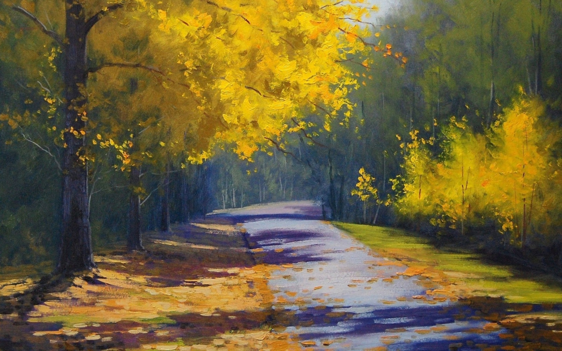 Road Trees Art Painting Wallpaper