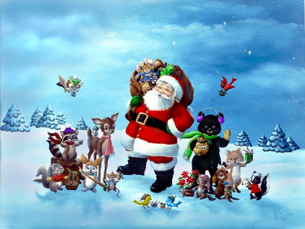 Santa Christmas Background 3D Wallpaper
