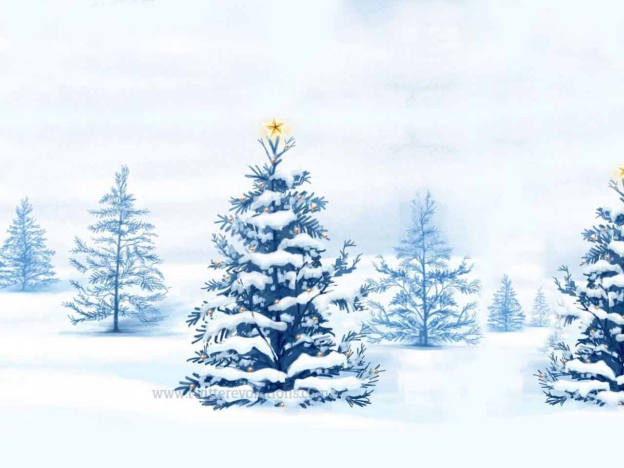 snowy christmas tree wallpaper