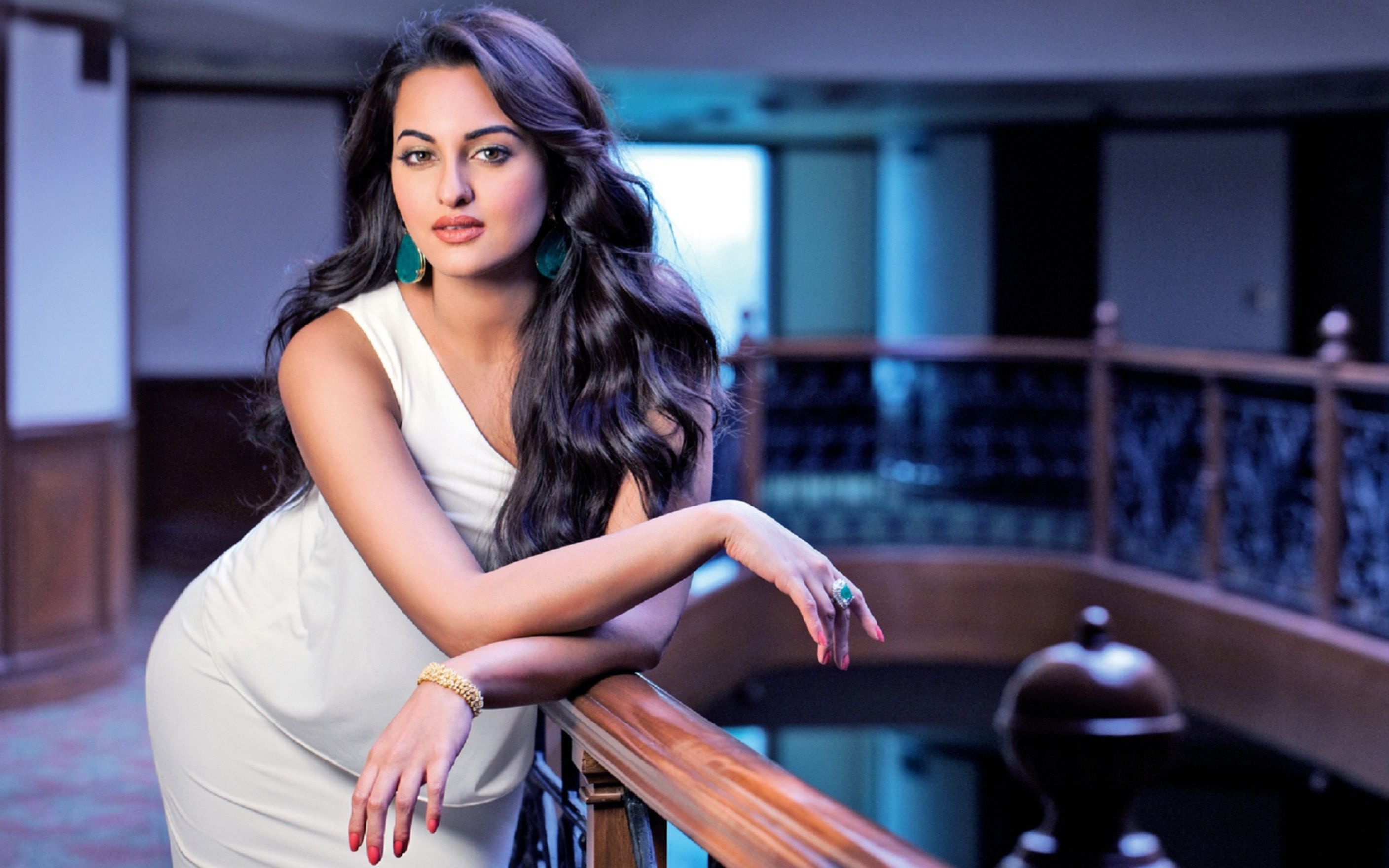 Download free HD Sonakshi Sinha Beautiful White Dress Wallpaper, image