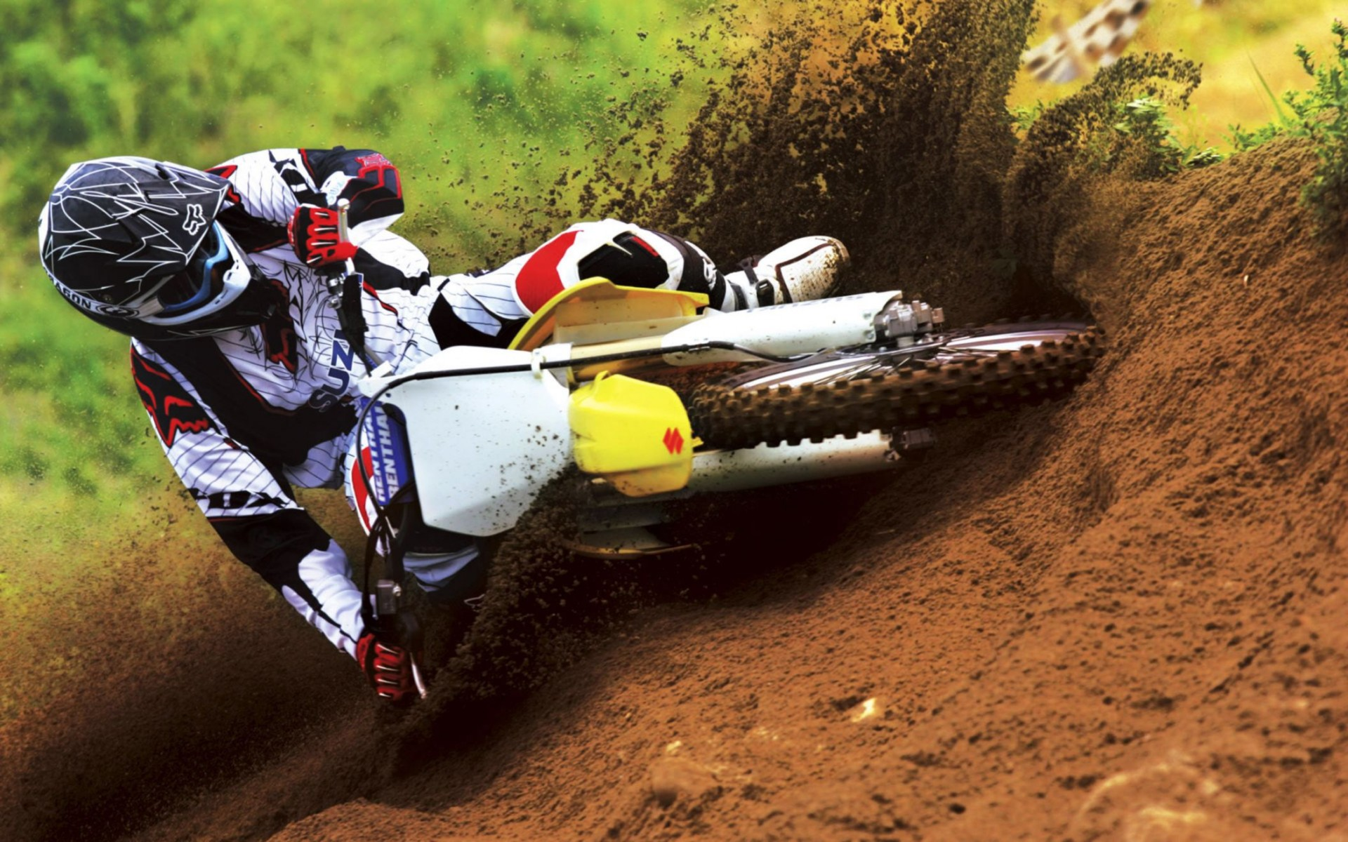 Suzuki Motocross Bike Race Wide Wallpaper