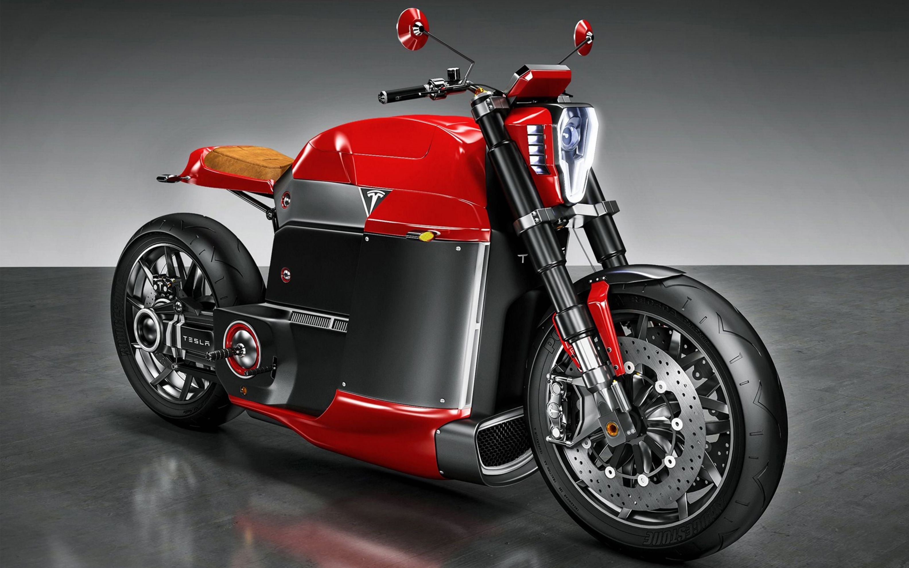 Download free HD Tesla Model M Concept Electric Motorcycle Wide Wallpaper, image